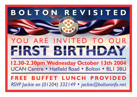 A6 Invitation - Bolton Revisited Birthday Event